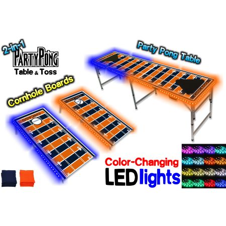 2-in-1 Cornhole Boards & Beer Pong Table w/ Color-Changing LED Glow Lights - Chicago Football Field, Silver