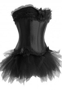 One Set-Ruffle Trimmed Long Line Satin Corset Bustier with Lacy Tutu Skirt in White Red Pink Black