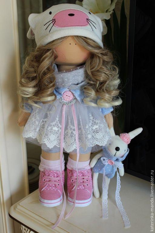 Купить Интерьерная кукла - голубой, розовый, белый, джинсовая нить, кружево хлопок