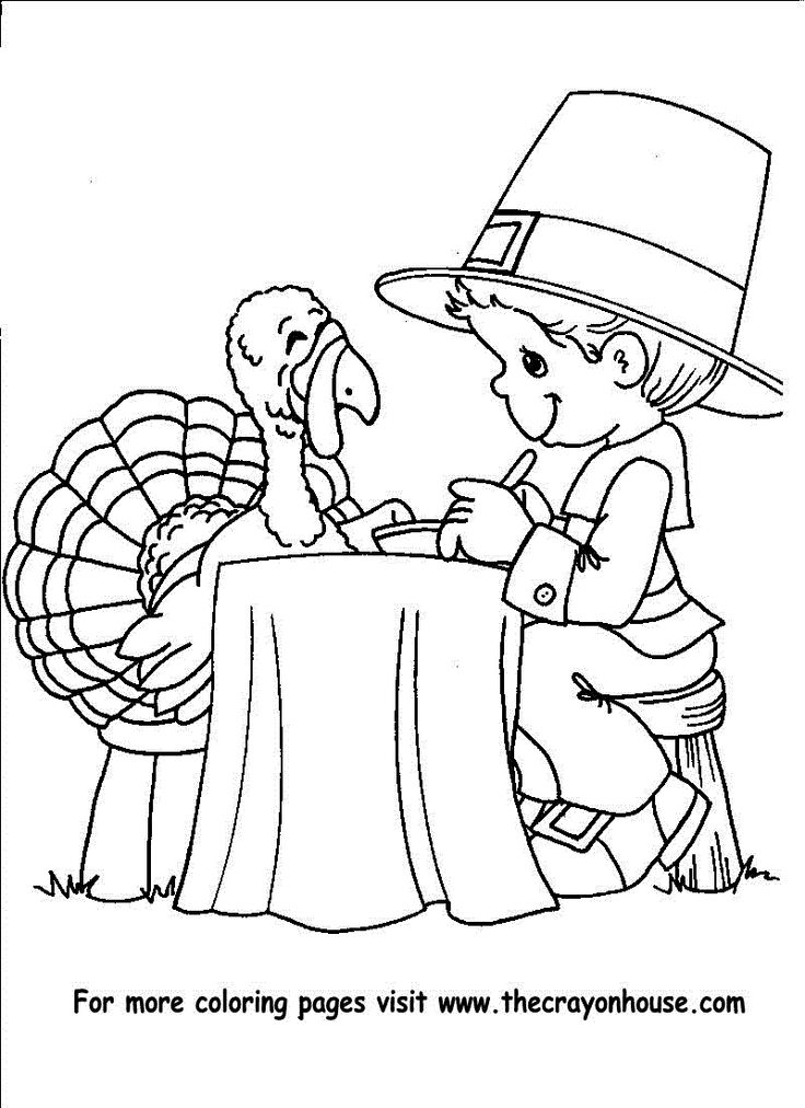 Thanksgiving pilgrim boy to color