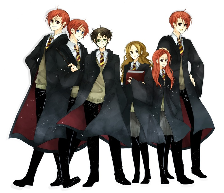 Fred, Ron, Harry, Hermione, Ginevra(Ginny), and