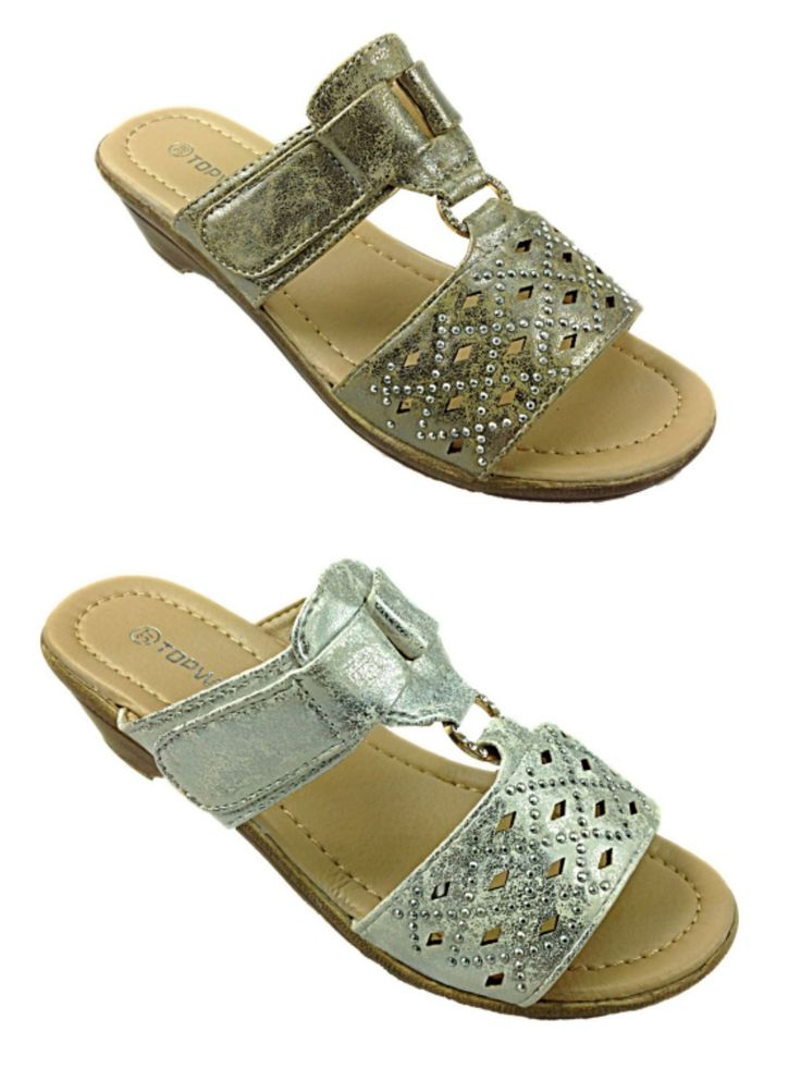 Ladies Metallic Low Wedge T Bar Slip On Mule Peep Toe Casual Summer Sandal Shoe | eBay