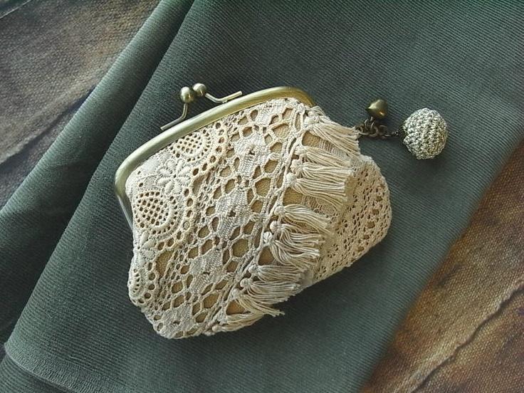 leather coin purse lace scraps ecru by kikosattic on Etsy