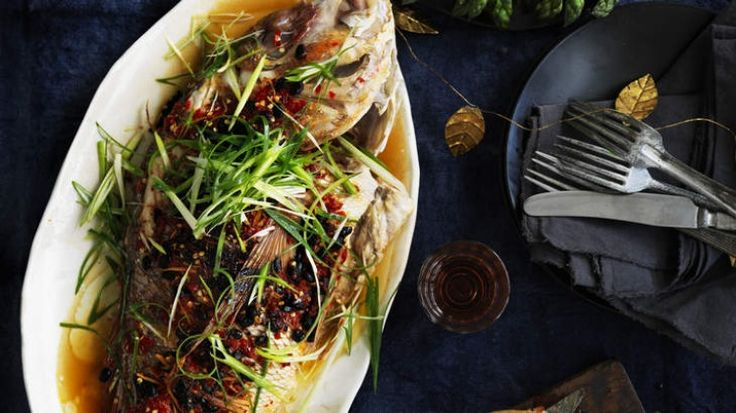Barbecued snapper with black beans and salted chillies