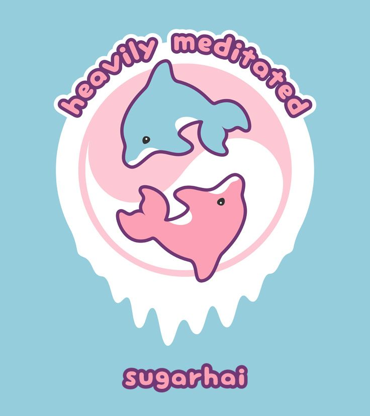 Heavily Meditated and super cute pink and blue baby dolphins inside a yin yang symbol.