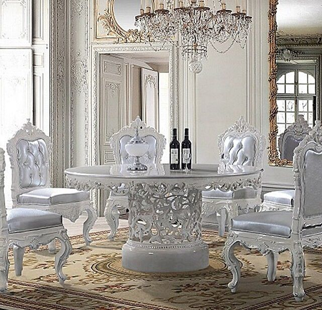 Homey Design  Victorian Round Dining Table With Decorative Center And White  Decorative Wood Trims With Silver Cushion And Fabric Upholstered Back And  Front