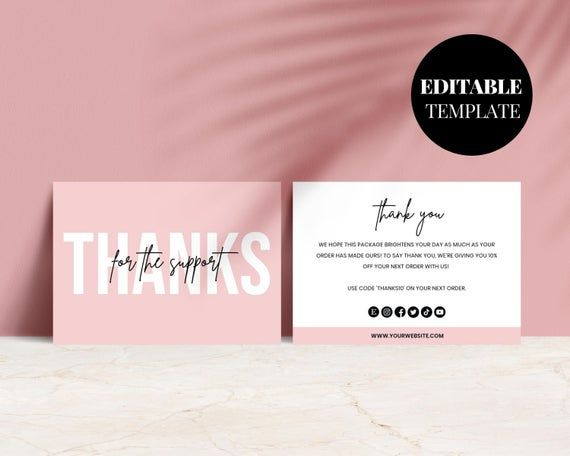 Editable Business Thank You Card Printable Blush Pink Thank You Thanks For Your Purchase Card Seller Thank You Customer Thank You Business Thank You Cards Business Thank You Thank You Customers