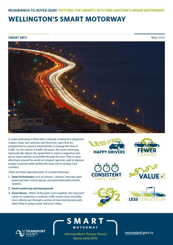 Information sheet with details about how Wellington's Smart Motorway will work.