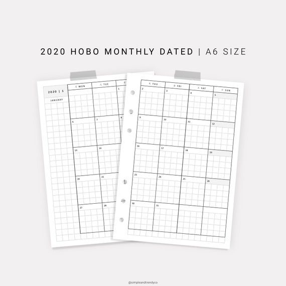 Monthly Planner 2020 Dated Planner A6 Inserts Hobonichi Month On