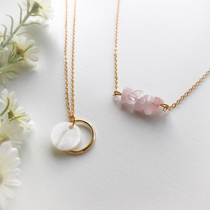 This beautifully dainty Rose Quartz necklace is now available in store! Here's also a sneak peek into our new Mother of Pearl collection coming soon! Stay tuned! And have a wonderful weekend lovelies! :) xo