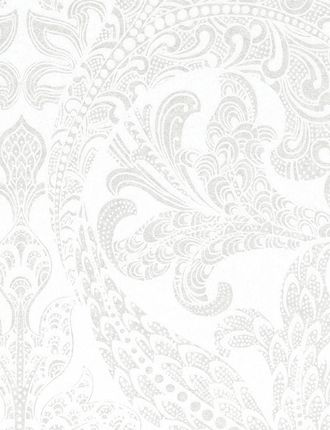 White wallpaper from ECO Wallpaper found on Tangletree Manufacturer: Eco  Collection: Eco White Product: 1058 £33  Repeat: 53cm  Roll size: 10.05mx53cm   1058 Features a large scale white damask on a pearlescent/metallic background.  GEORGEOUS..