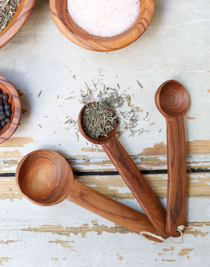 Add rustic charm with olive wood measuring spoons from The Little Market.