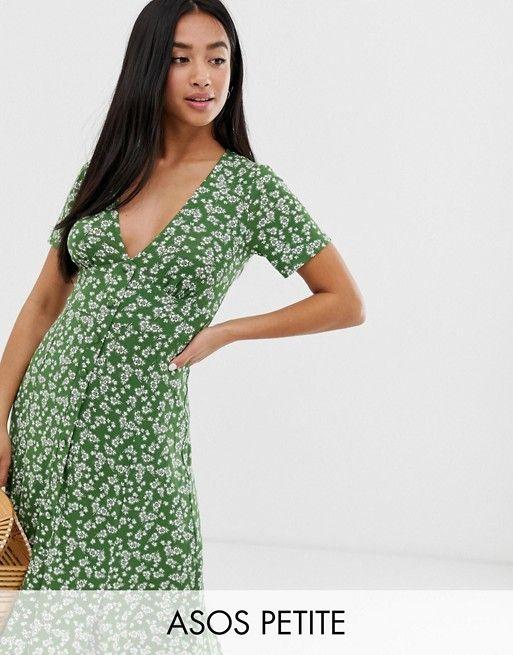 9dba9c867 ASOS DESIGN Petite exclusive button through maxi tea dress with splits in ditsy  print   ASOS