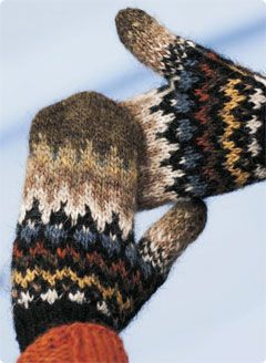 Lopi Handtak Mittens. Free pattern download. Need several pairs in several colors taken from nature. That means no florescent pink and no safety yellow...I guess you can find them somewhere in nature, but to me that don't look natural.