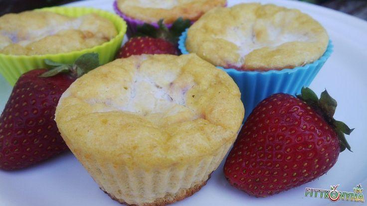 túró, eper, zabpehelyliszt, muffin, egyszerű