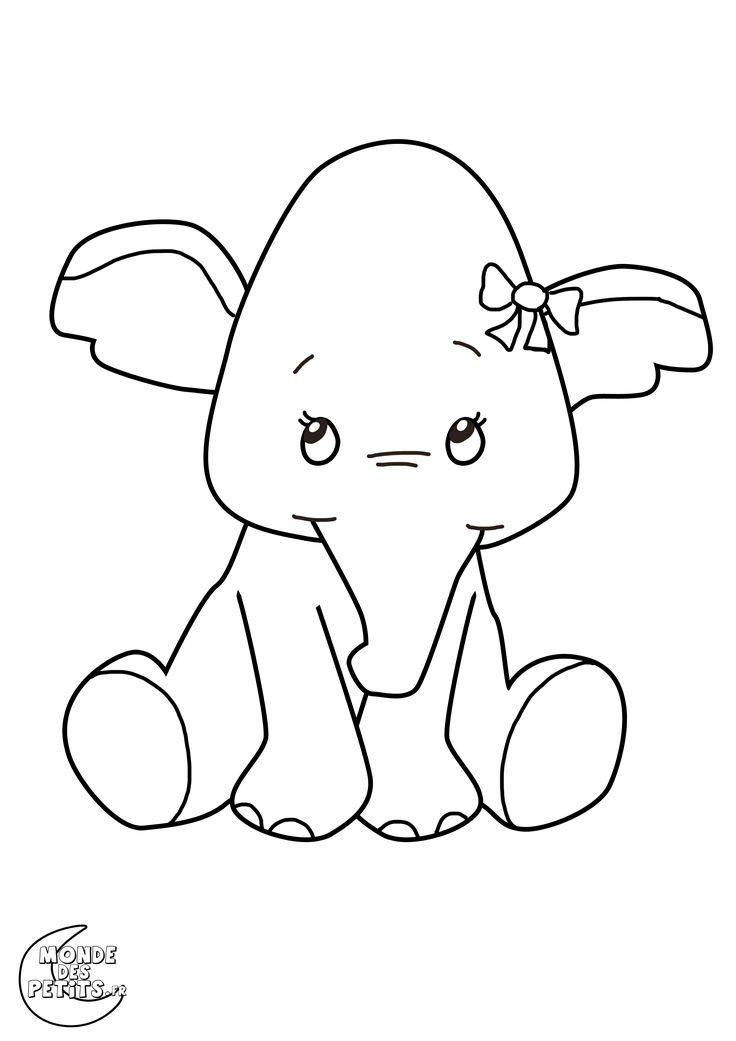 Les 25 meilleures id es concernant coloriage elephant sur - Animaux a colorier ...