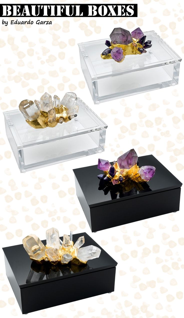 Lucite jewelry box crystal quartz gold