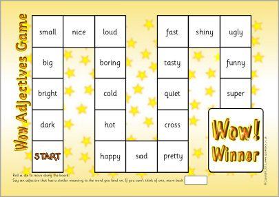 Wow adjectives board game (SB7201) - SparkleBox