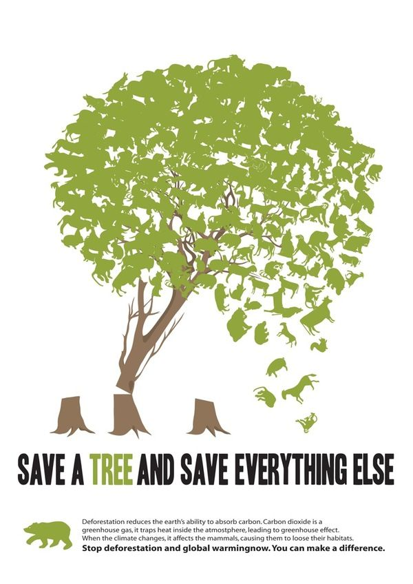 "JEFF - This poster uses the metaphor of tree leaves being ""everything else"" in attempt to prevent deforestation. The message in conveyed with the use of the dynamic design leading viewers eyes downwards and bringing forth the prominent line, ""save the tree and save everything else'."