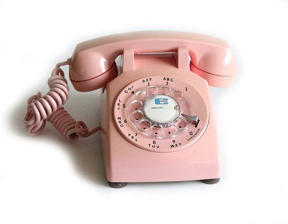 I wish rotary phones still worked. (they don't btw, they're analogue in a digital world )  Big girls Barbie Dream House telephone.  Vintage ITT Pink Rotary Desk Telephone by albrechtsantiques, Etsy