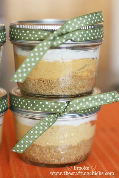 Mini Pumpkin Cream Pies- recipe using half-pint wide mouth jars...great hostess gift