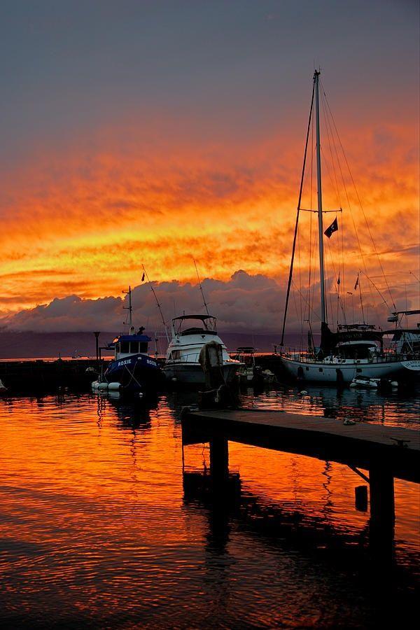 Orange sunset over Lahaina Harbor, in Maui, Hawaii