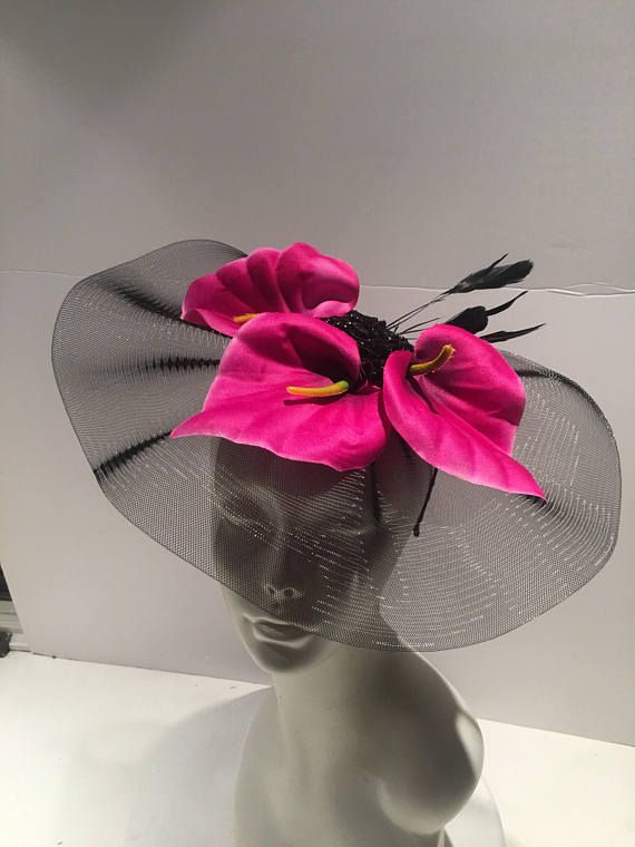 Pink Fascinator- Flower Fascinator - Hot Pink Headband- Mad Hatter Party-  Tea party 8ddd0d7a026