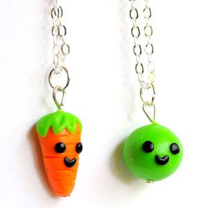 Pea & Carrot BFF Necklaces... made me think of Forrest and Jenny :)