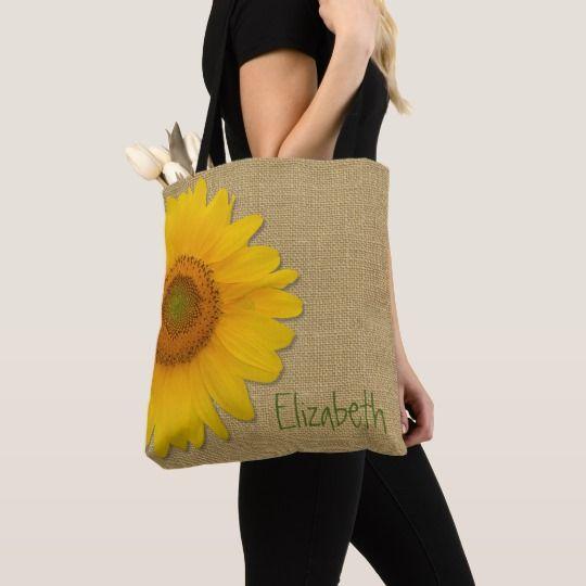 Niedliche Land-Sonnenblume auf Leinwand-Gewohnheits-Taschen-Tasche | Zazzle