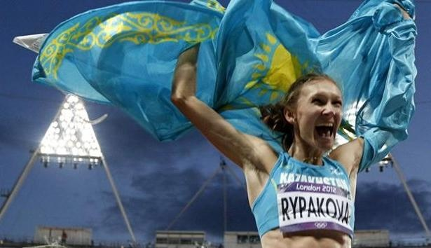 Kazakhstan's Olga Rypakova won Gold Medal in the Women's Triple Jump Athletics event of the 2012 London Olympics at the Olympic Park Stadium in London.    Olga Rypakova, former heptathlete and long jumper produced a mark of 14.98 metres to win the gold medal ahead of Caterine Ibarguen of Colombia and Ukraine's world and double European champion Olha Saladuha. - http://www.PaulFDavis.com/success-speaker (info@PaulFDavis.com)