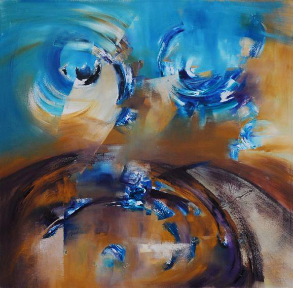 """""""Hacia la superficie"""" - Silvia Hilerowicz - Oleo sobre tela - 100 x 100 cm  www.esencialismo.com"""