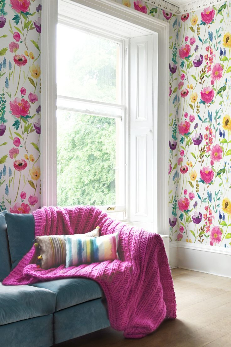 Elegant, All Over Digitally Printed Design Featuring An Array Of Oversized  Flowers In Rainbow Colours