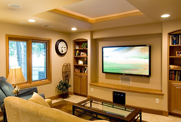 Media Room With Flat Screen And Sound System Media Room Design Entertainment Room Design Living Room Center #sound #system #living #room