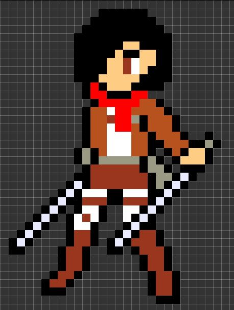 attack on titan pixel art template