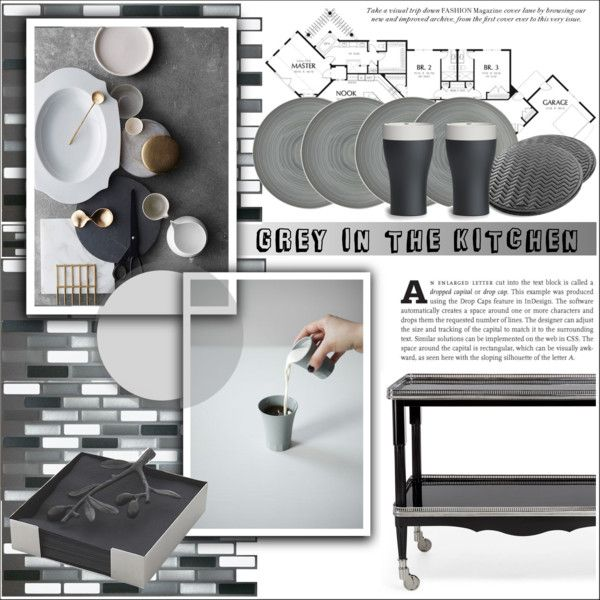 Grey in the kitchen by deeyanago on Polyvore featuring polyvore interior interiors interior design home home decor interior decorating Ralph Lauren Home Michael Aram Magisso Owen & Fred kitchen Home homedesign homeset decoratekitchen
