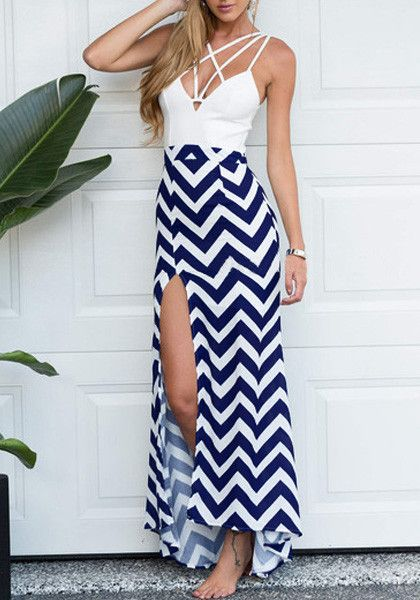This chevron caged maxi dress features side slit and plunging, caged neckline. It goes perfectly with a bracelet and your trusted pumps.