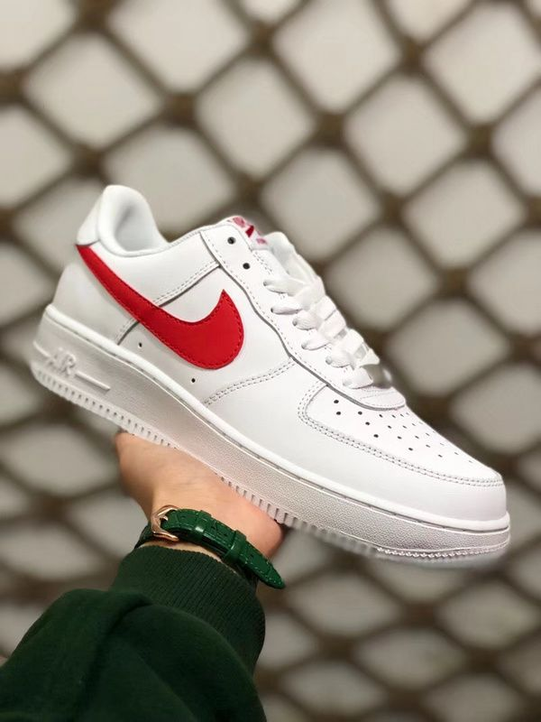 2018 Factory Authentic Unisex Nike Air Force 1 07 Low White Red On Sale 33e8b8466e