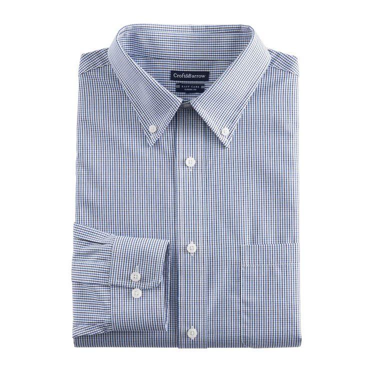 Men's Croft & Barrow® Classic-Fit Easy Care Button-Down Collar Dress Shirt, Blue