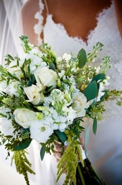 Rustic White and Green Bouquet
