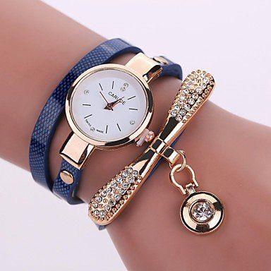 Modieuze dames horloge donker blauw, goud kleur kwarts
