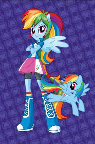 Rainbow Dash and human rainbow dash from the movie My little pony equestria girls