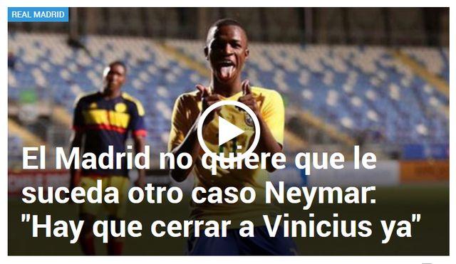 """Real Madrid quer """"contratar já"""" Vinicius Jr para não repetir caso Neymar"""