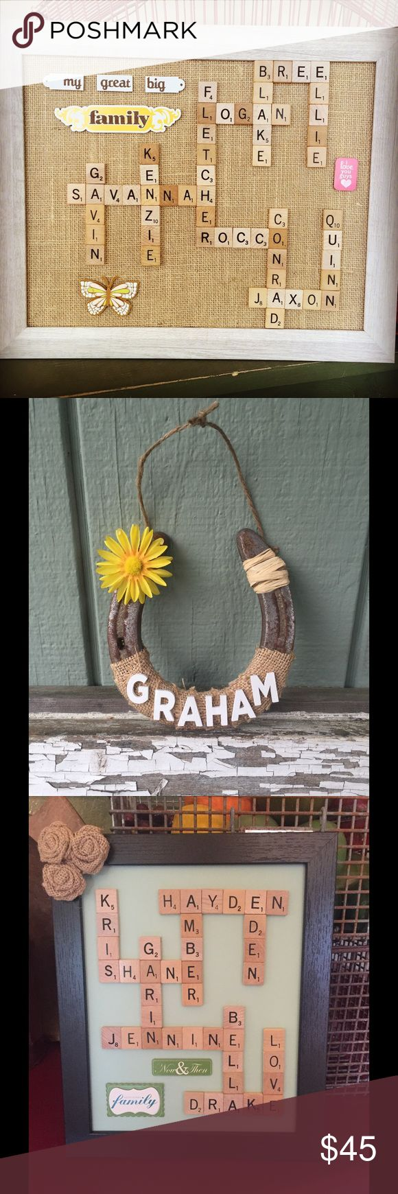 """Homemade gifts FOR SALE-- Family scrabble 8X10 frames: $35 Family scrabble 11X14 frames: $45 Wall/Standing 9"""" tall Letters: $25 Horseshoes, 4-5"""" tall/wide: $20 Anniversary/new home/teacher/ dry erase 5X7 frames: $20 Button Art 8X10 Frames: $30 Penny Balloon 8X10 Frames: $30  These make amazing gifts for Fathers Day, Graduation, Christmas, Birthdays, Children Decor, Baby Showers, Bridal Showers, Anniversary or Wedding Gifts, Wedding Decor, Gifts for Him, Gifts for Her, etc. Other"""