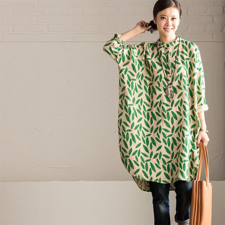 Green Small Leaves Shirt Dress Cotton Linen Casual Women Clothes C670A Clothes will not shrink,loose Cotton fabric, soft to the touch. !!!!!Care: hand wash or machine wash gentle, best to lay flat to