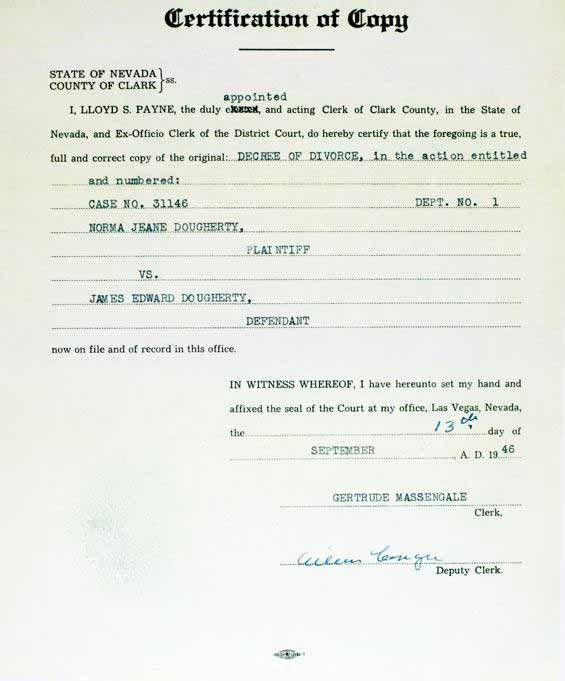 Marilyn Monroe - September 13. 1946 - Copy of Decree of Divorce from Jimmy Dougherty