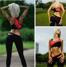 2016 Summer Women Yoga Set Gym Fitness Sports Suits Patchwork Two Piece Tops+Pants Elastic Bandage Yoga Clothing Jogging Femme