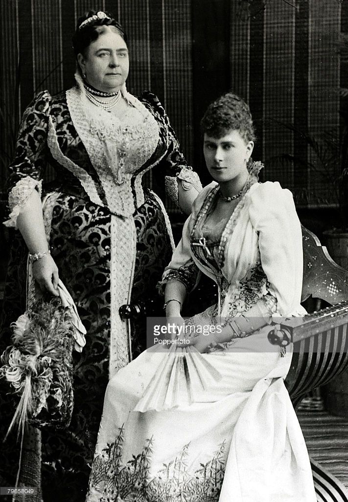circa 1891, Princess Mary of Teck, (1867-1953) who was to become Queen Mary the Queen Consort of King George V, pictured with her mother the Duchess of Teck