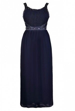 Cute Navy Maxi Dress, Beaded Navy Maxi Dress  www.lilyboutique.com