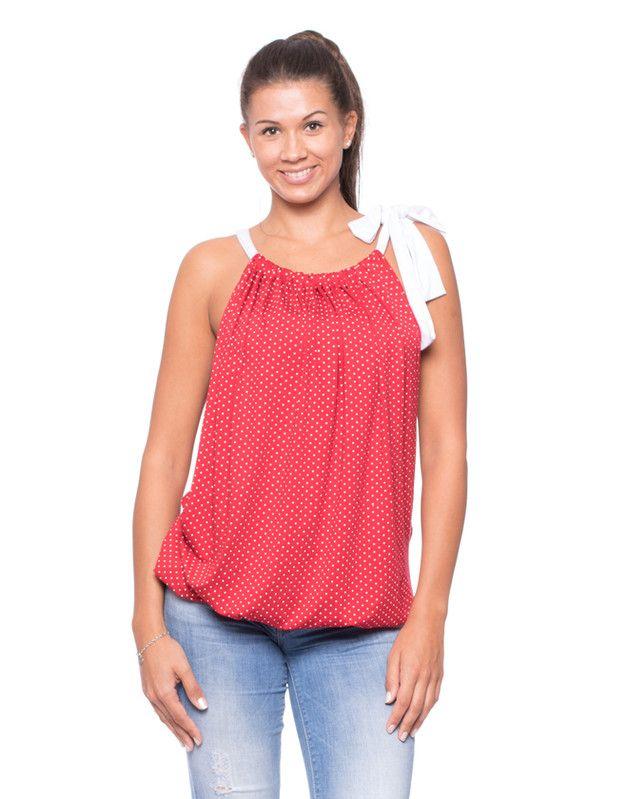 Stillmode - LORETTA Umstandsshirt Stillshirt rot/weiss gepunkt - ein Designerstück von Milchshake-by-AgnesH- bei DaWanda