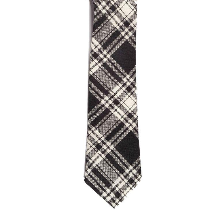 Menzies Black and White Tartan Tie from Gretna Green #TartanTie #PlaidTie